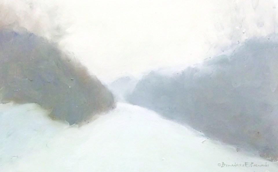 """Snowfall"", pastel, 11″ x 7″ © Bernadette E. Kazmarski"