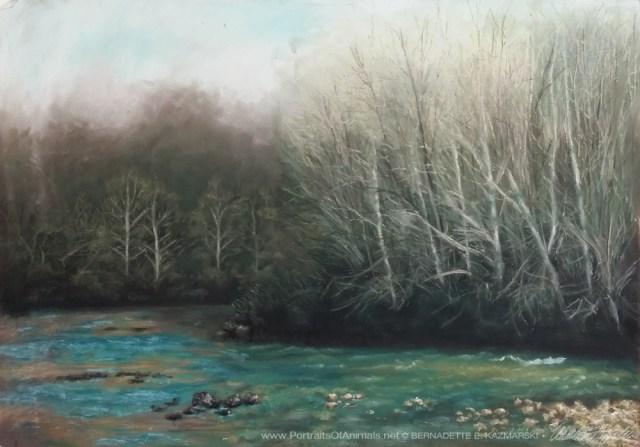 """""""Spring Comes to a Bend in the Creek"""", 26"""" x 19"""", pastel on sanded paper © Bernadette E. Kazmarski"""