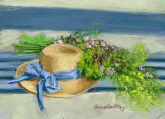 "Hat With Wildflowers, pastel, 5.5"" x 8.5"", 2013 © Bernadette E. Kazmarski"