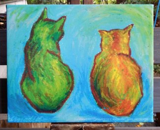Two Cats After van Gogh, 8 x 10 canvas.