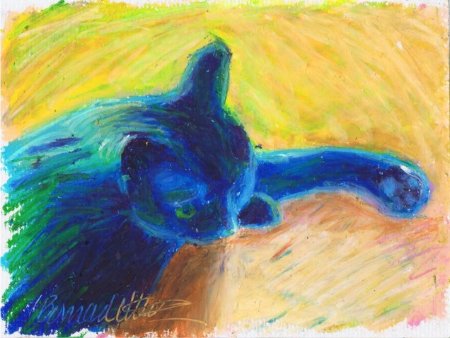 "In Window Light, 5"" x 7"", oil pastel © B.E. Kazmarski"