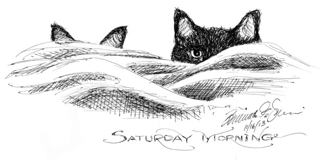 """Saturday Morning"", Ink hybrid technical pen, 9"" x 4"" © Bernadette E. Kazmarski"