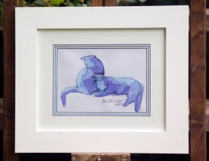 """Blue Purple Cats"", framed"
