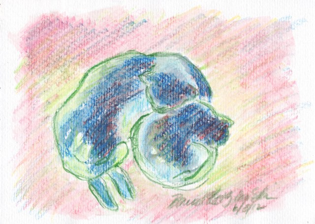 "Mother and Daughter, Sun and Shadow, watercolor pencil, 5"" x 7"" © Bernadette E. Kazmarski"