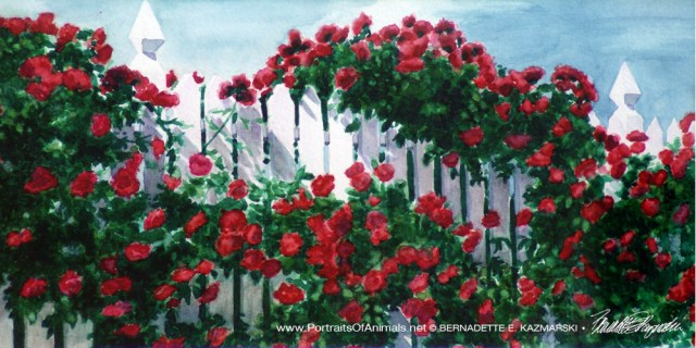 Red Climbers, watercolor, 10 x 20, 1995 © Bernadette E. Kazmarski