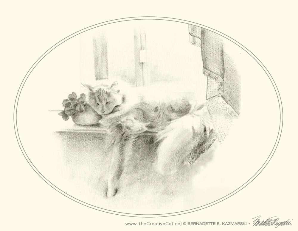 "Sleeping Beauty note card on cream cotton cover from ""Feline Pencil Sketches"""