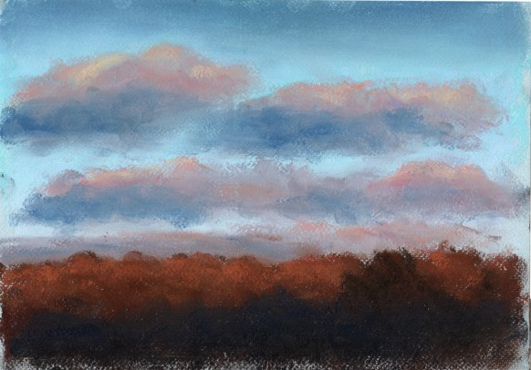 "Colorful Winter Sunset 10"" x 8"", pastel © Bernadette. E. Kazmarski"