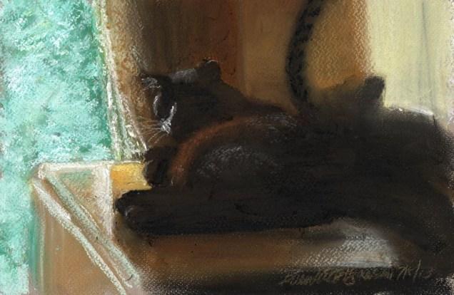 """Here in the Shadows"", pastel on pastello paper, 7.5"" x 11"" © Bernadette E. Kazmarski"