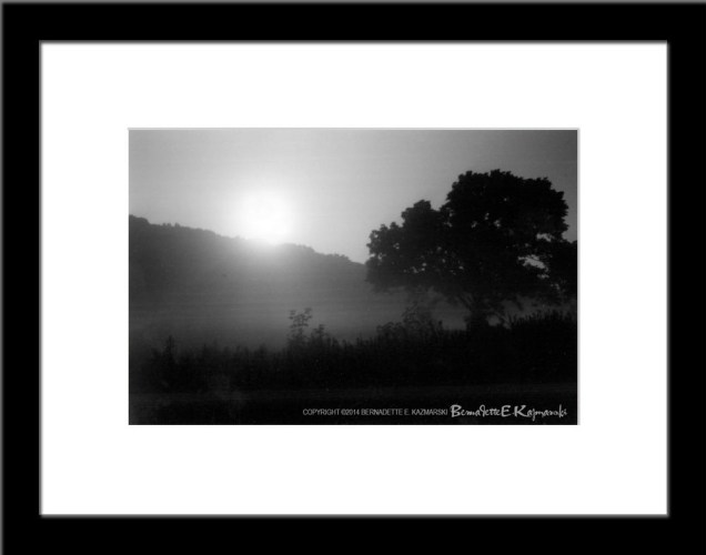 Moonrise and Mist, framed.