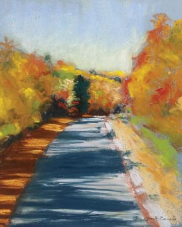 """Colorful Autumn Trail, 8"""" x 12"""", pastel © Bernadette E. Kazmarski"""
