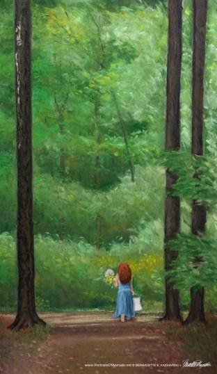 """""""Me in the Woods (draft 2)"""", pastel, 16"""" x 28"""" © Bernadette E. Kazmarski"""