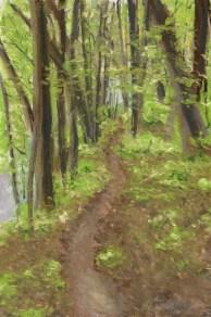 """The Spring Woods, 8"""" x 12"""", pastel © Bernadette E. Kazmarski"""