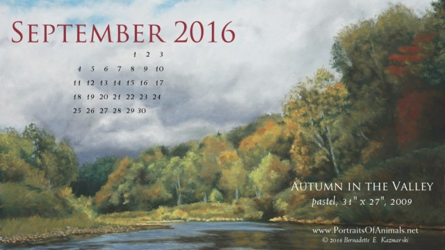 """Autumn in the Valley"" desktop calendar 2560 x 1440 for HD and wide screens."