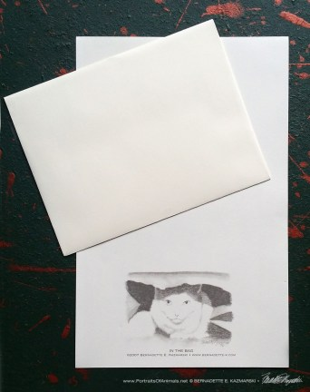 """In the Bag"" Feline Pencil Sketches Notepaper"