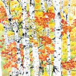 Birches 2: Radiance, watercolor, 22 x 23, edges cropped.