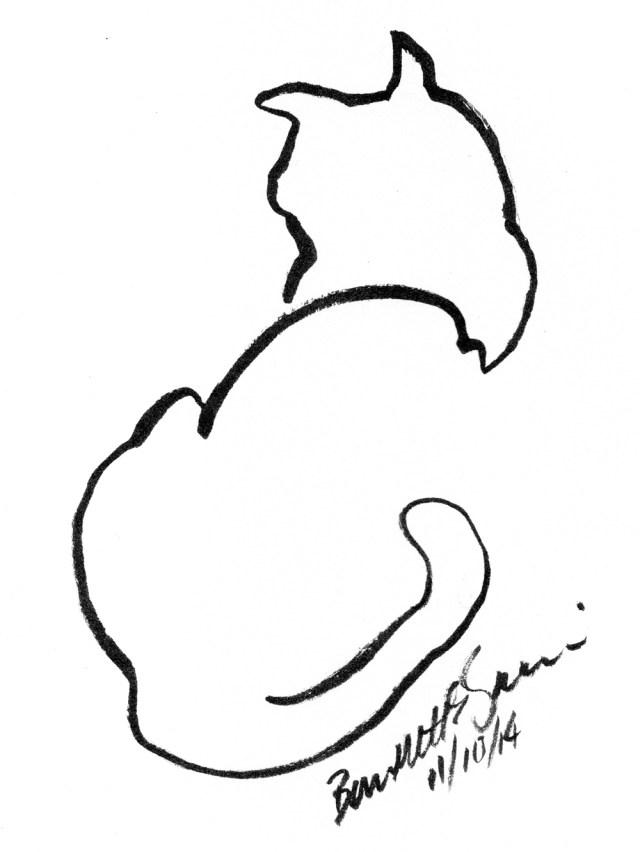 """""""Back to Front"""", ink brush pen, 4"""" x 6"""" © Bernadette E. Kazmarski"""