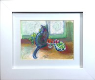 Cat With Fruit framed.