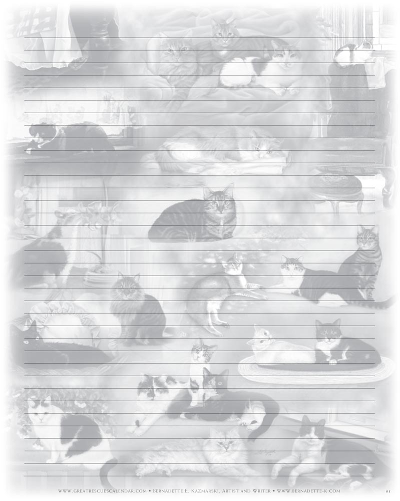 "Great Rescues Day Book ""22 Cats"" notepaper."