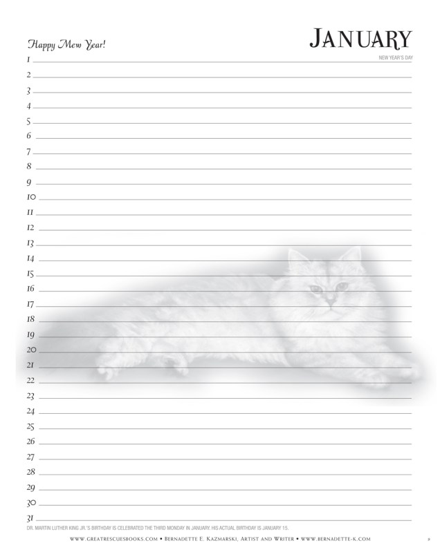 Great Rescues Day Book, sample calendar page.