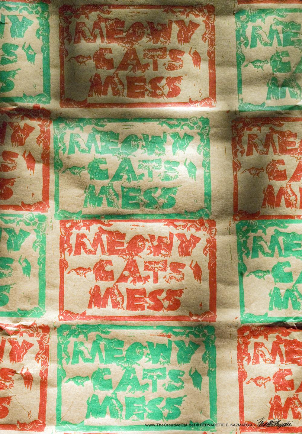 Meowy Cat's Mess pattern closeup.