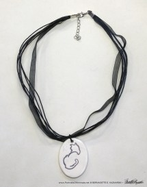 """Sample of multi-strand cord with """"Back to Front"""" pendant, 1"""" x 1.5"""" oval."""