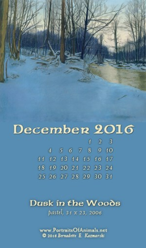 """Dusk in the Woods"" desktop calendar, for 400 x 712 for mobile phones."