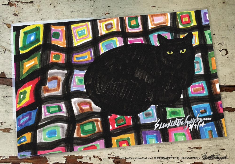 Mewsette on the Afghan, 11 x 17 laminated placemat