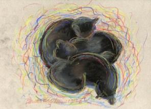 """Black Cats Dreaming in Color"", soft and hard pastel on Canons Mi-tientes, 11"" x 9"" © Bernadette E. Kazmarski"