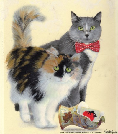 """The painting for """"Merriment, Mayhem and Meows""""."""