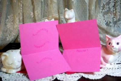 Magenta cards, inside.