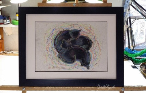 """Black Cats Dreaming in Color"", framed."