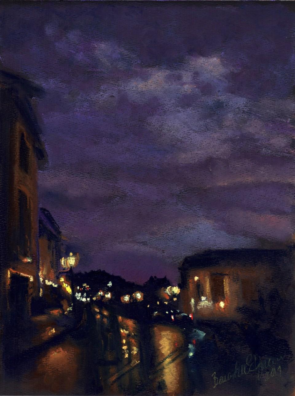 "Rainy Violet Sunset, pastel on black Canson paper, 9"" x 12"" © Bernadette E. Kazmarski"