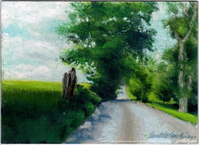 Summer Back Road, pastel on prepared board, 8 x 12 © Bernadette E. Kazmarski