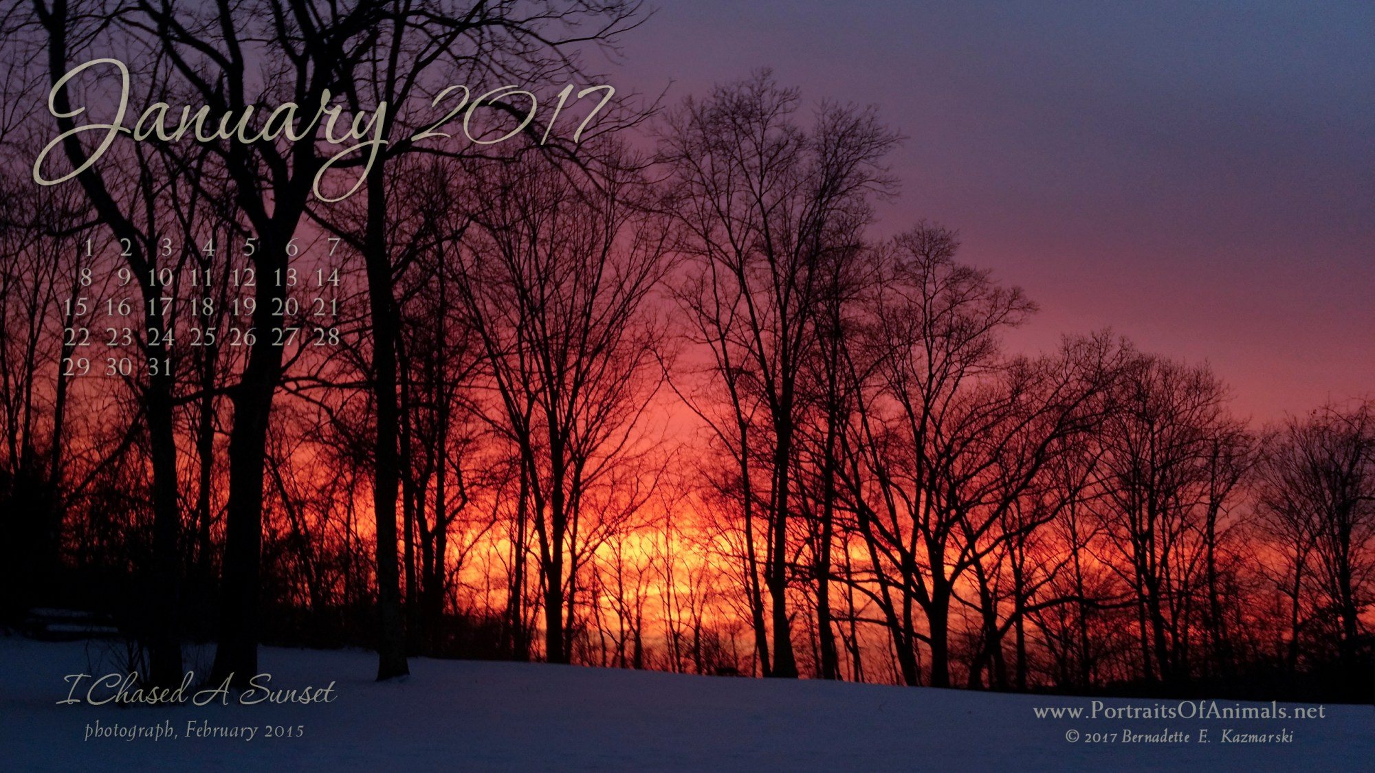 """""""I Chased a Sunset"""" desktop calendar 2560 x 1440 for HD and wide screens."""