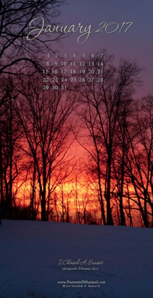 """I Chased A Sunset"" desktop calendar, for 400 x 712 for mobile phones."