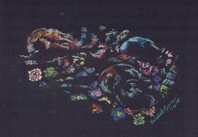 """Winter Afternoon"", pastel pencil on black pastel paper, 9.5"" x 6.5"" © Bernadette E. Kazmarski"