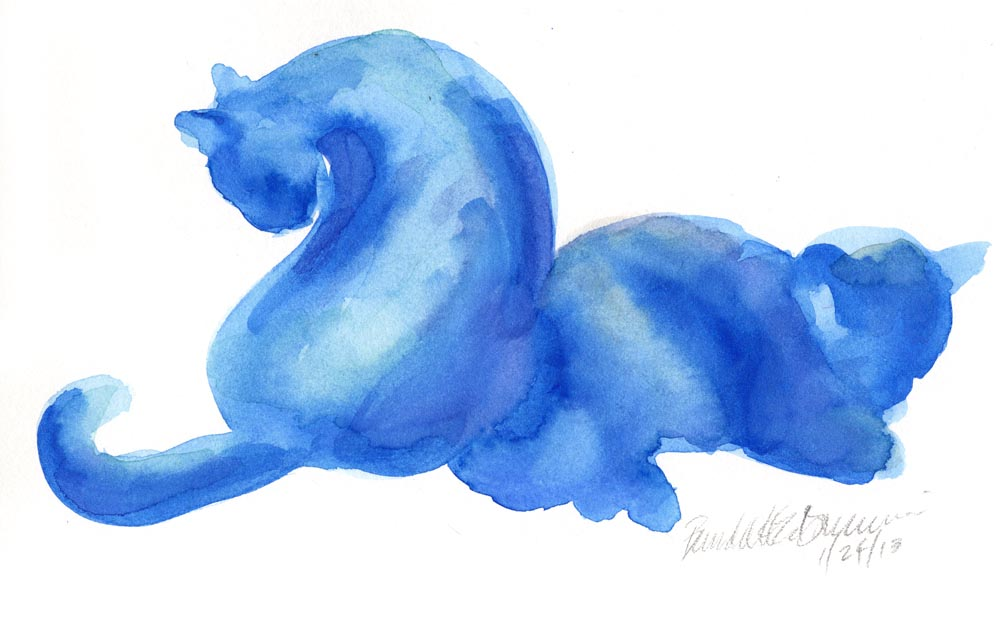 """Winter Cats"", watercolor, 10"" x 6"" © B.E. Kazmarski"