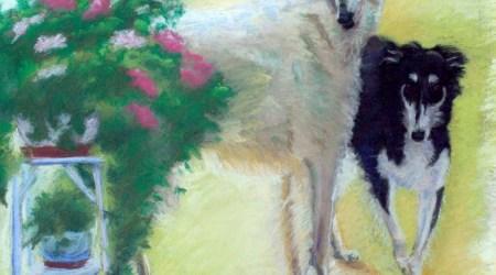 """""""Borzois"""", pastel, 20"""" x 26"""" © Bernadette E. Kazmarski"""
