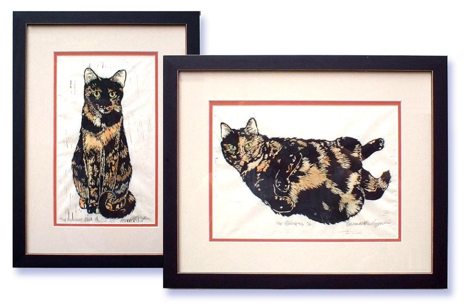 """Tortie Girls"" set of matted and framed block prints."