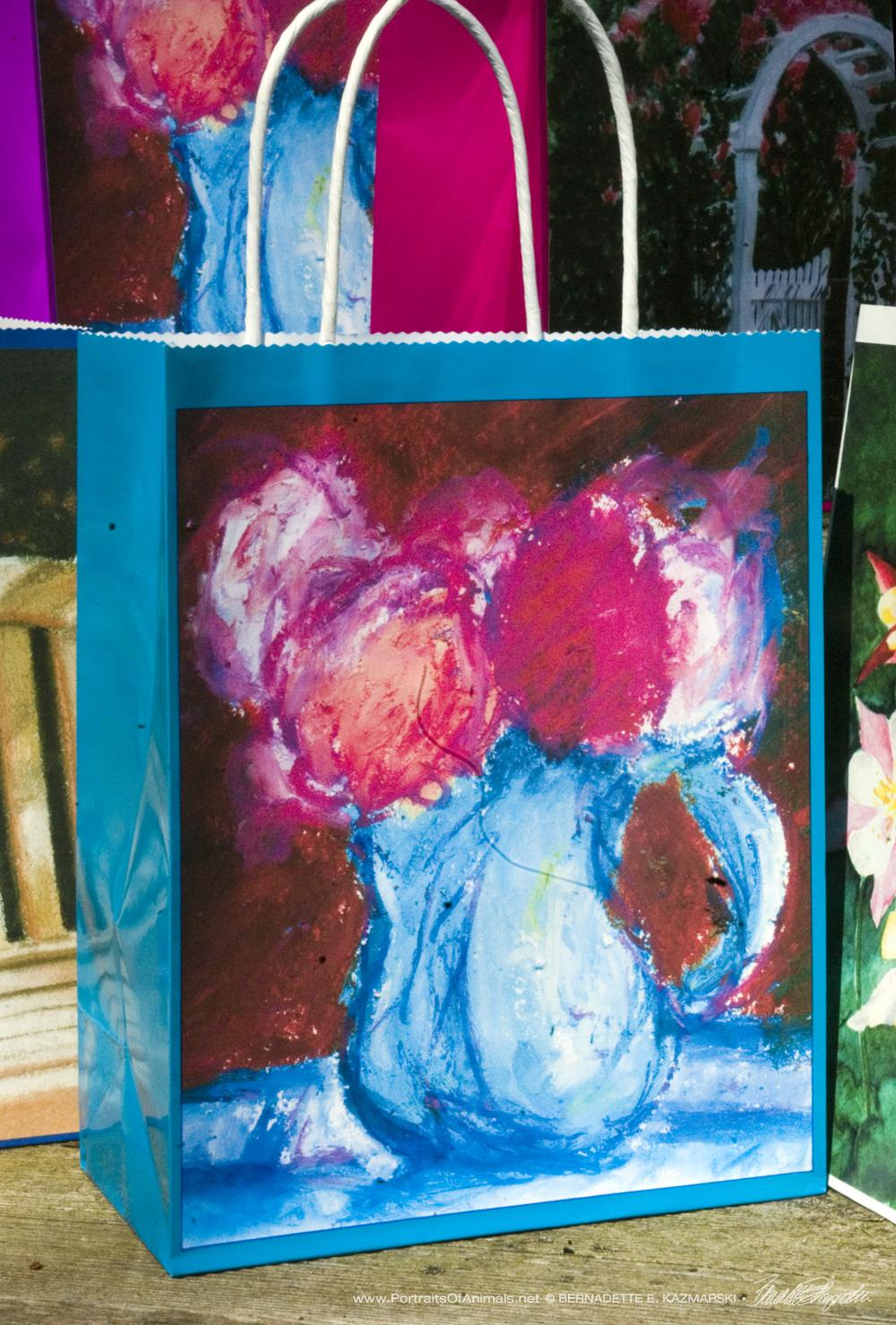 January Geraniums Gift Bag, Turquoise