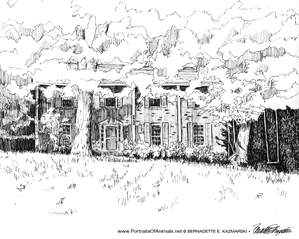 A Simple Ink Sketch of Our Parents' Home