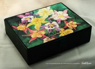 My Mother's Columbines Vintage Cardboard Cigar Box Keepsake.