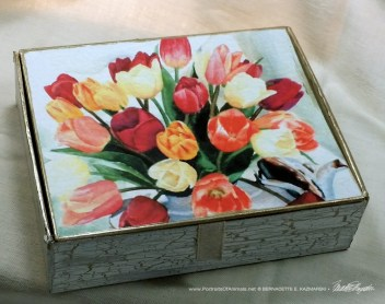 Tea for Tulips Keepsake, design.