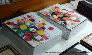 Two matching tulip keepsakes made from Marsh & Wheeling cigar boxes.