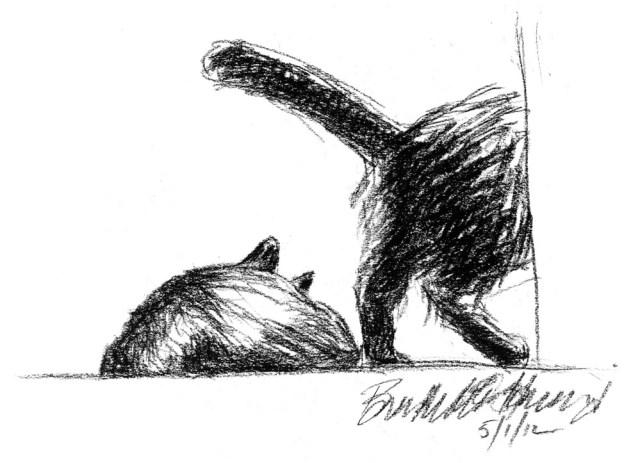 """Minding Their Own Business"", charcoal pencil, 9.5"" x 7"" © Bernadette E. Kazmarski"