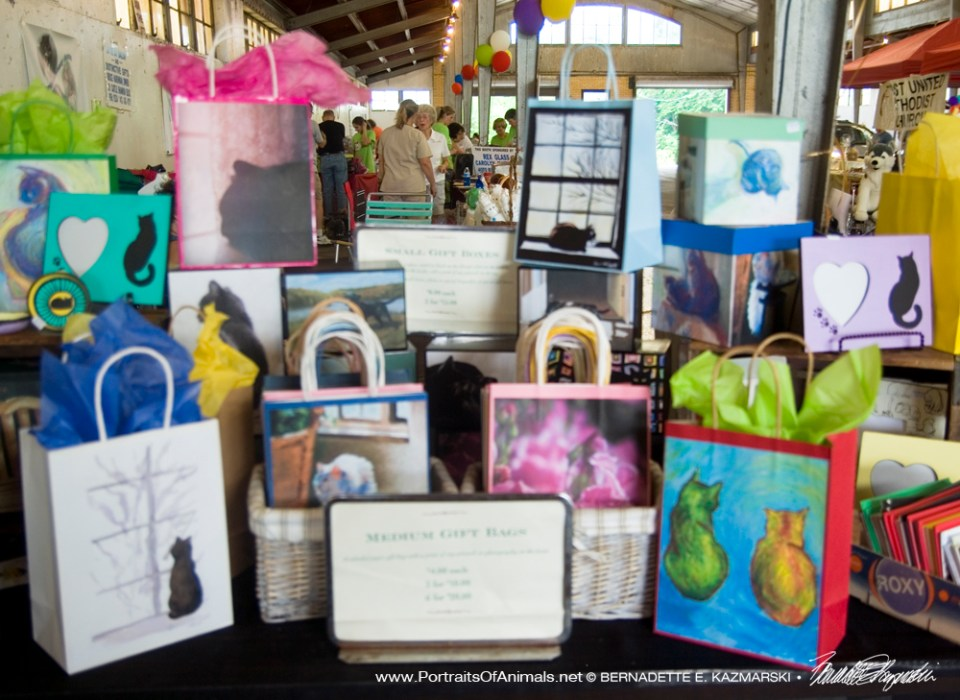 Gift bags and boxes.