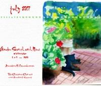 July Feline Desktop Calendar Wallpaper