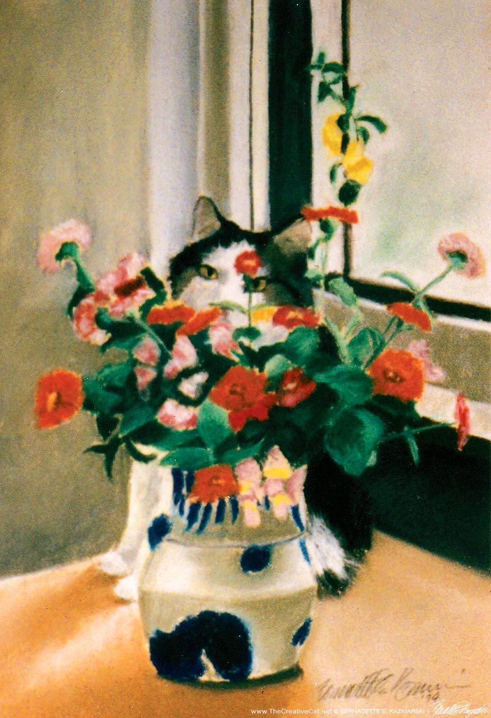 painting of cat behind vase of flowers