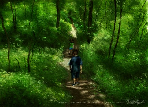 """""""Running Through the Woods"""", pastel, 20"""" x 14"""" © Bernadette E. Kazmarski"""