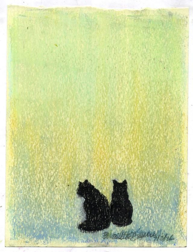"""Sunfall"", pastel on yellow textured paper, 5″ x 7″ © Bernadette E. Kazmarski"